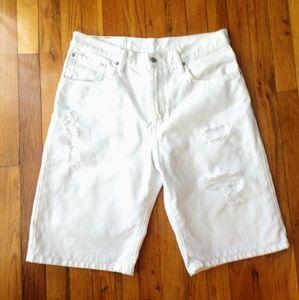 Men's All White Ripped Levi Jean Shorts